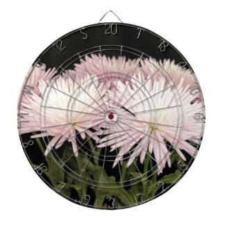 Violet White Chrysanthemum Flowers on Black Dartboards