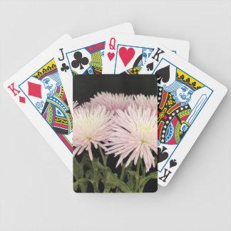 Violet White Chrysanthemum Flowers on Black Poker Deck
