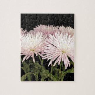 Violet White Chrysanthemum Flowers on Black Puzzle