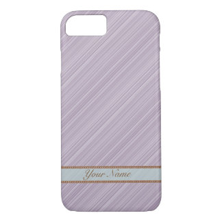 Violet white diagonal stripes personalized name iPhone 8/7 case