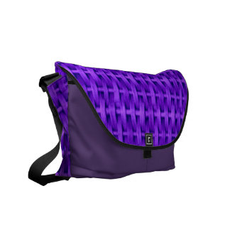 Violet wicker art graphic design messenger bag
