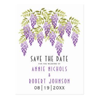 Violet wisteria spring wedding Save the Date Postcard