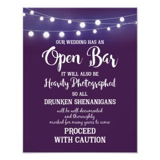 Violet with lights wedding sign OPEN BAR