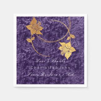 Violet Wreath Gold Floral Velvet Bridal Wedding Disposable Napkins