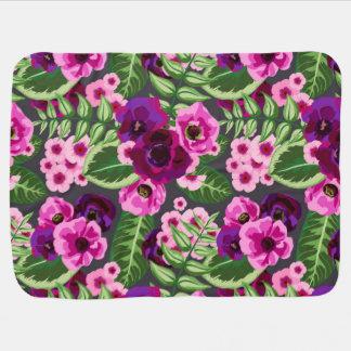 Violet X Pink Flowers Pattern Baby Blanket
