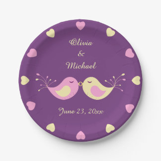 Violet Yellow Love Birds Personalized 7 Inch Paper Plate