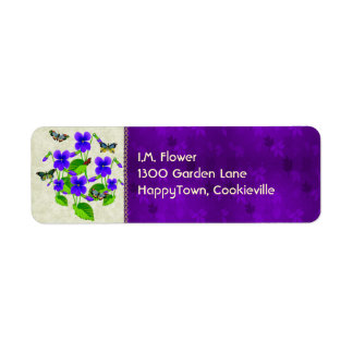 Violets and Butterflies Return Address Label