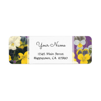 Violets and Pansy Floral Custom Address Labels