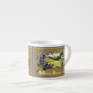 Violets and Vintage Church in a Vale Espresso Cup