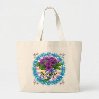 Violets Bouquet custom name Tote Bag