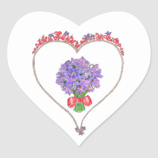 Violets For My Love Heart Sticker