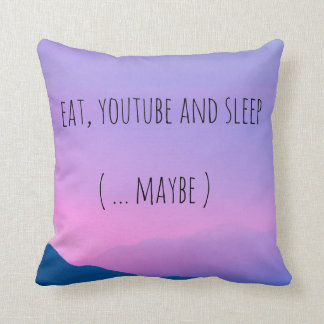 "Violett pillow. ""EAT, YOUTUBE AND SLEEP"" print. Throw Pillow"