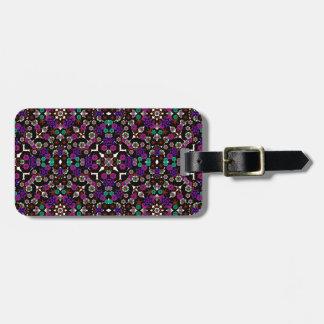 violette florale de motif étiquette à bagages