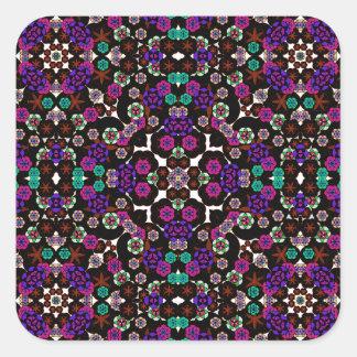 violette florale de motif autocollant carré