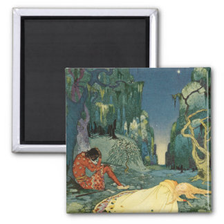 Violette sleeping in the forest square magnet