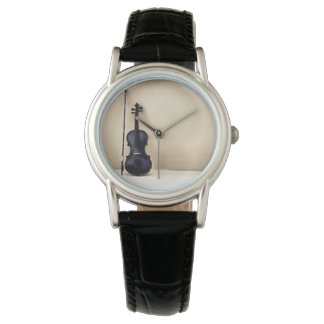 violin and bow leather watch
