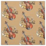 Violin and Bow with Notes and Stars Fabric
