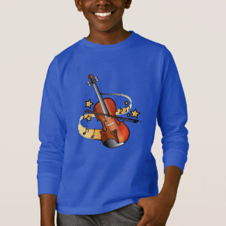 Violin and Bow with Notes and Stars T-Shirt
