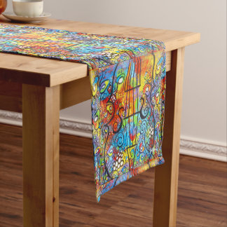 Violin and Flowers Spring Table Runner