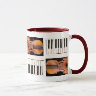 Violin and piano keys mug