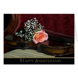 Violin and Rose Wedding Anniversary Card