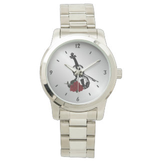 Violin and Roses Four Numbers Wrist Watch
