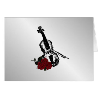 Violin and Roses Silver Card