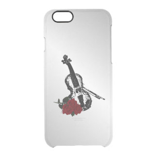 Violin and Roses Silver Clear iPhone 6/6S Case