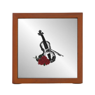 Violin and Roses Silver Desk Organizer