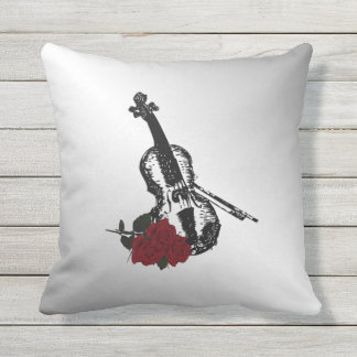 Violin and Roses Silver Outdoor Pillow