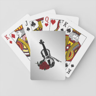 Violin and Roses Silver Playing Cards