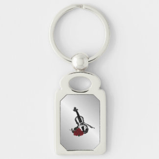 Violin and Roses Silver Silver-Colored Rectangle Keychain