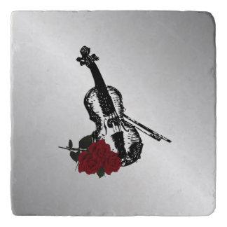 Violin and Roses Silver Trivet