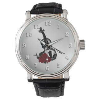 Violin and Roses Silver Watch