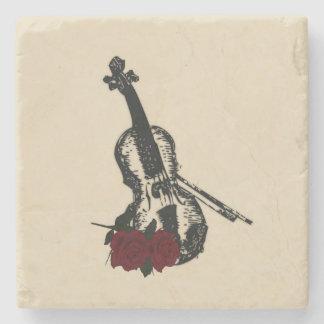 Violin and Roses Stone Coaster