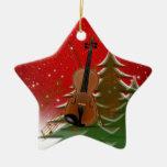 Violin at Christmas Ceramic Star Ornament