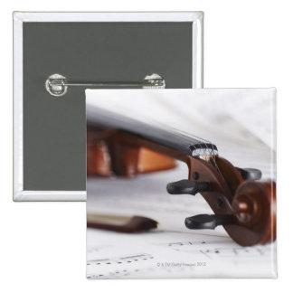 Violin Bow 2 Inch Square Button