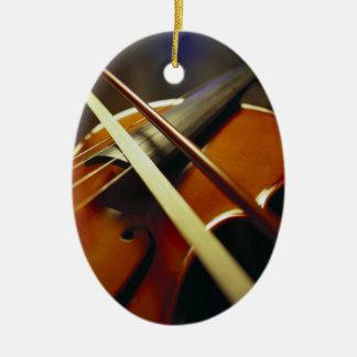 Violin & Bow Close-Up 1 Ceramic Ornament