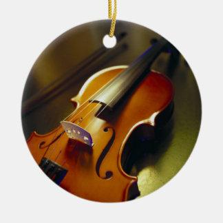 Violin & Bow Close-Up 2 Ceramic Ornament