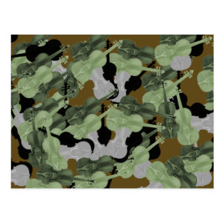 Violin Camo Camouflage Pattern Postcard