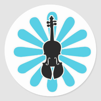 Violin Daisy Notecards Classic Round Sticker