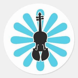 Violin Daisy Notecards Round Sticker