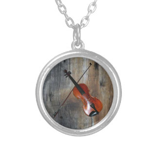 Violin ~ Fiddle With Barnwood Background Silver Plated Necklace