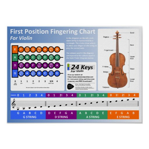 Violin Fingering Chart Print