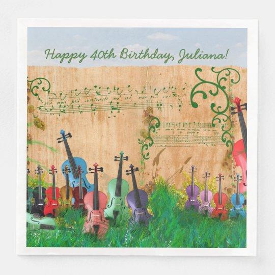 Violin Garden Optional Birthday Message Paper Dinner Napkin