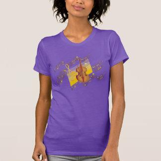 Violin Gold Music Notes Swirl Purple T-Shirt