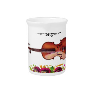violin in a frame with petals beverage pitchers