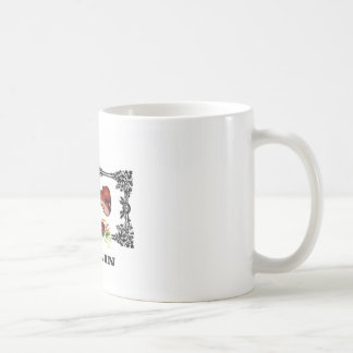 violin in a frame with petals coffee mug