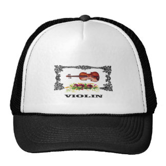 violin in a frame with petals trucker hat