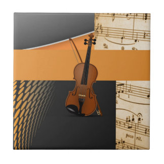 Violin in Abstract Tile